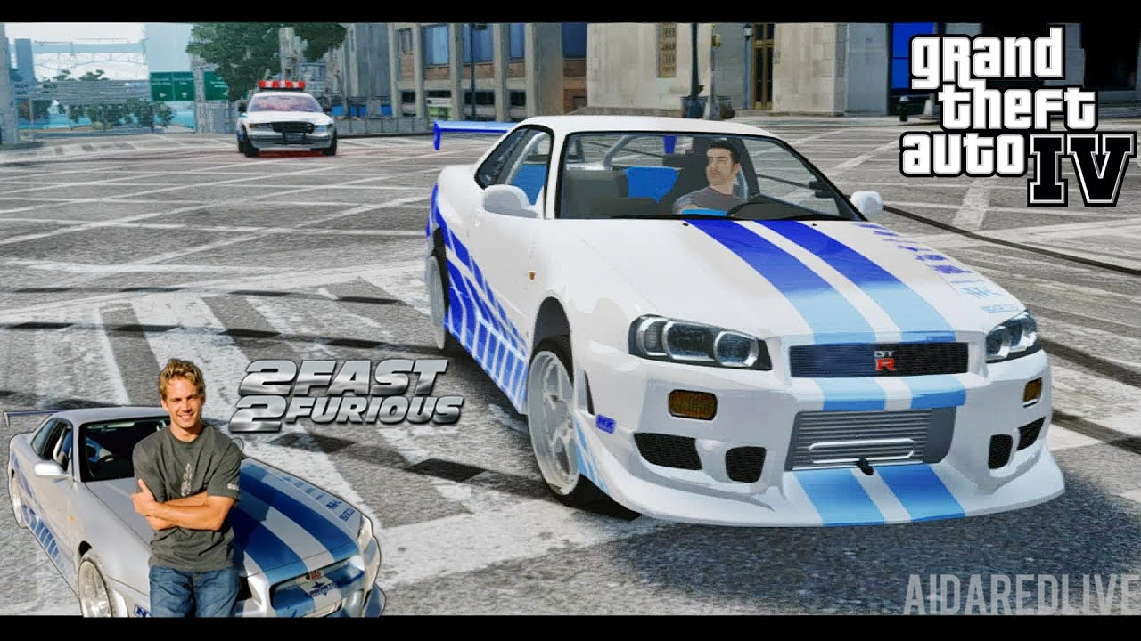 gta iv escape to nissan skyline gt r r34 2 fast 2. Black Bedroom Furniture Sets. Home Design Ideas