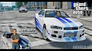 GTA IV. Escape to Nissan Skyline GT-R R34 (2 Fast 2 Furious Style).