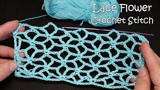 Цветочная сетка крючком 🌼 Lace Flower Crochet Stitch