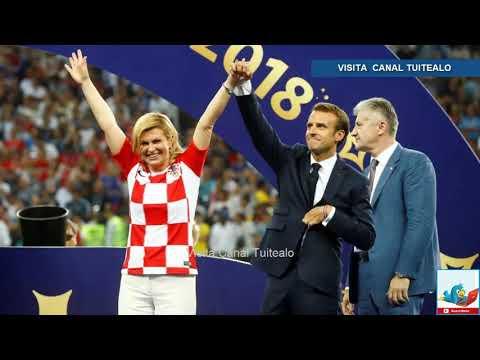 Ejemplo de deportividad de la presidenta de Croacia Kolinda Grabar Kitarovic con Macron en Rusia 201