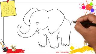 How to draw an elephant SIMPLE & EASY step by step for kids and beginners