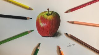How To Draw A Realistic Apple🍎in colored pencil |Mahnoor Naeem