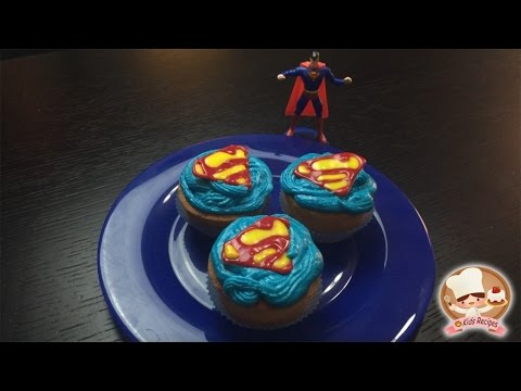 KIDS RECIPES SUPERMAN SUPERHERO CUPCAKES easy recipes for kids