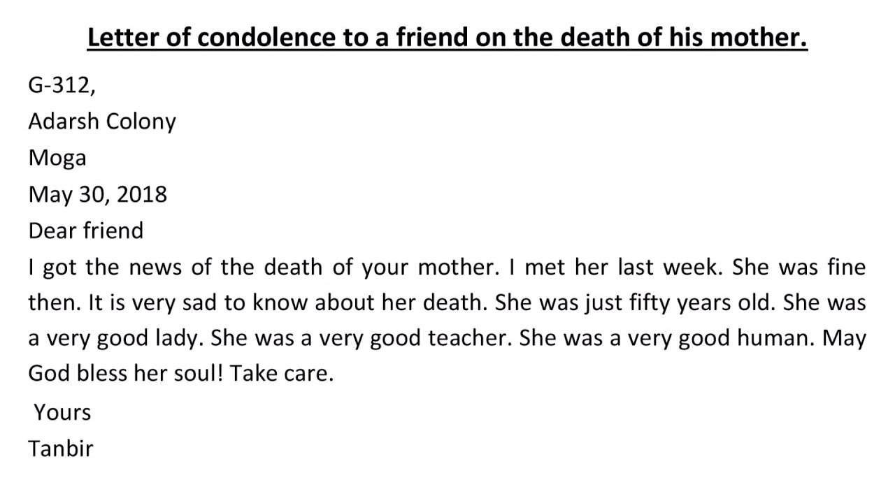 letter of condolence to a friend on the death of his mother how to