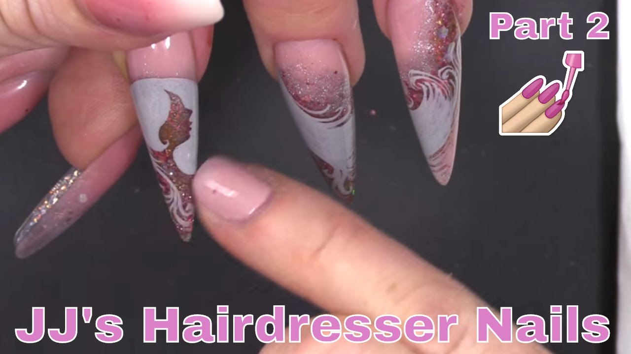 Hand Painted Silhouette Nail Art - Full Look Hairdresser Design Part ...