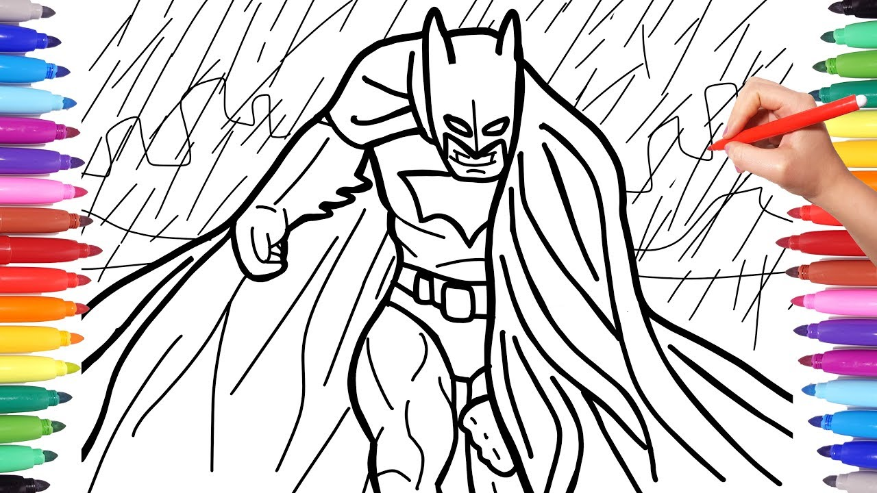 Batman Coloring Pages For Kids How To Draw Batman Dark Knight In The Rain Youtube