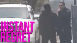 guy INSTANTLY REGRETS punching k9 cop (bork bork nom nom)