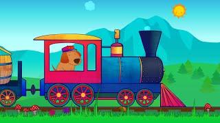 Мультики про паровозики с животными. Животные для детей. Песни для детей.