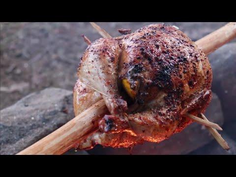 Rotisserie Chicken,  Bushcraft Style