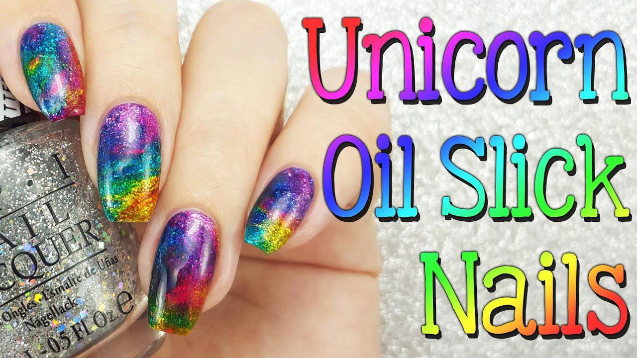 Unicorn Oil Slick Nails - YouTube