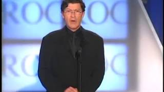Robbie Robertson inducts Eric Clapton Rock and Roll Hall of Fame inductions 2000