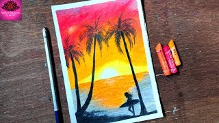 how to draw beach sunset scenery with oil pastel step by step