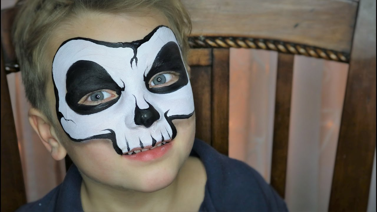 Easy Skull Face Painting / Makeup - YouTube