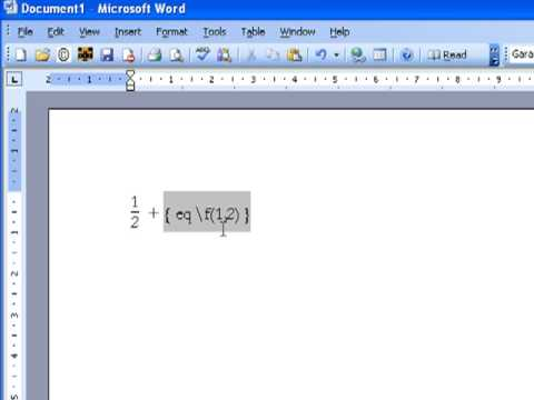 Creating a Fraction in Microsoft Word 2003 and 2007 - YouTube - on word