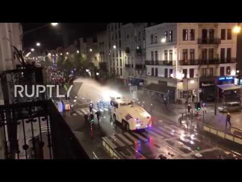 Belgium: Water cannons blasted at rioting football fans as Morocco qualifies for 2018 World