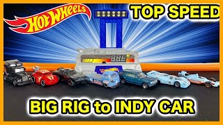 TOP SPEED TESTING HOT WHEELS - Porsche 917 LH Big Rig Indy Oval Mercedes VW T2 Pick Up