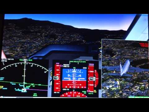 Air Force One landing  on runway 17 Quito Ecuador, Cockpit view, simulation