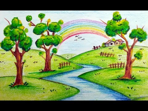 How To Draw Very Easy Beautiful Scenery With Rainbow For Kids Youtube