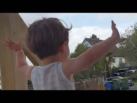 Curtis - Little Toddler Gets Really Excited To See Garbage Truck