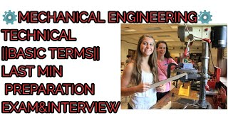 ⚙️MECHANICAL ENGINEERING⚙️TECHNICAL||BASIC TERMS||LAST MIN PREPARATION EXAM&INTERVIEW