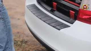 видео Защитная накладка заднего бампера Skoda Rapid (2012 - н.в.) текстурный платик
