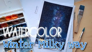 WATERCOLOR Winter Milky Way