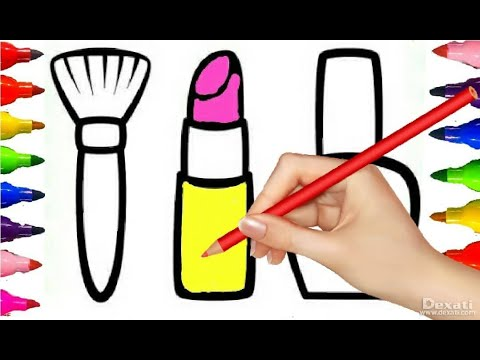 Glitter Makeup set Lipstick, Nail Polish, Brush Coloring, Drawing and Painting for kids art Time