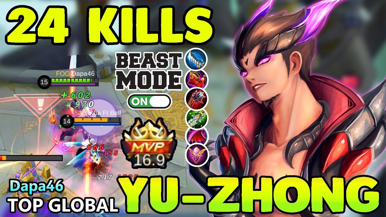 24 KILLS!!TOP GLOBAL YU-ZHONG BEST BUILD 2020 |YU-ZHONG MOBILE LEGENDS