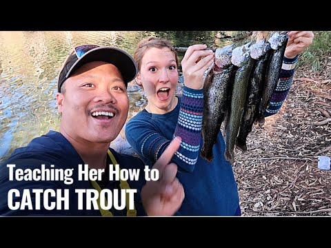 Trout Fishing Using Mini Jigs (HER FIRST TIME)
