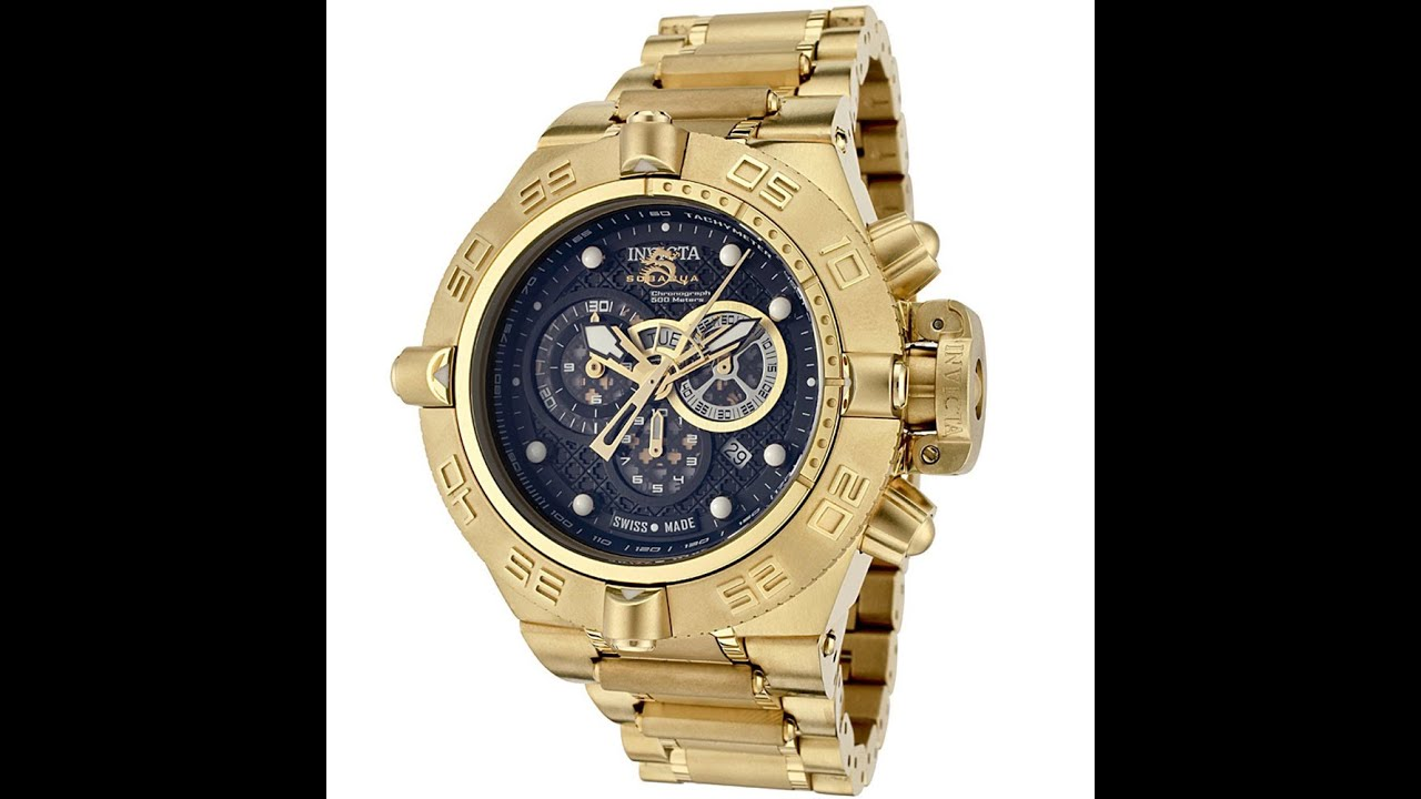 Invicta 6553 Men s Subaqua NOMA Gold Tone Black Dial Chronograph Watch  Review Video 7e66b8204b4