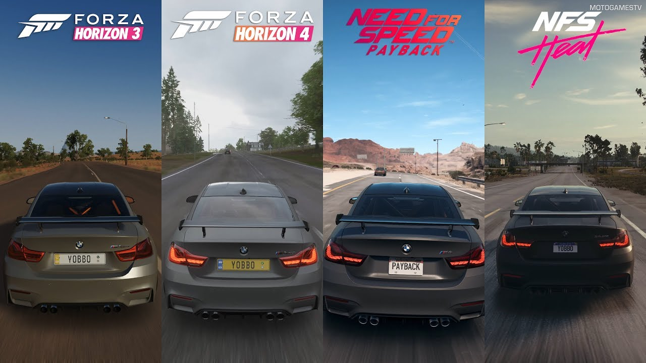 Horizon 3 Vs Horizon 4 Vs Nfs Speed Payback Vs Nfs Heat Bmw M4