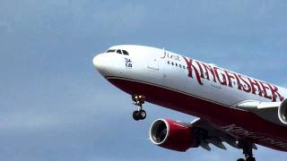 Kingfisher Airlines Airbus A330-200 (VT-VJO) landing at LHR/EGLL (London Heathrow) RWY 27R
