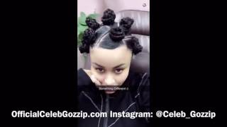 blac chyna shows off her real hair and gets bantu knots
