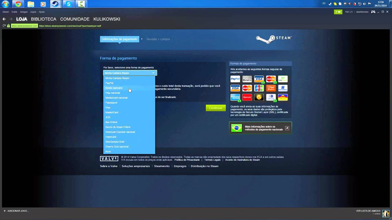 how to change payment method on steam