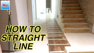 Hardwood Floor Installation on Concrete How to Make a Straight Line | MrYoucandoityourself