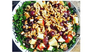 How To Make Healthy Delicious Kale Salad With Cranberries Wild Rice Apples And Walnuts