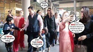 Taimur Ali Khan Gets SCARED Of FANS Surrounding Them At Airport | Kareena Kapoor Gets ANGRY OnThem