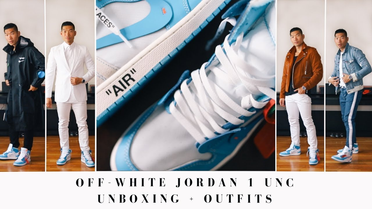 b6d3bc20f9b Off-White Jordan 1 UNC Unboxing + Outfits | Men's Street Style - YouTube