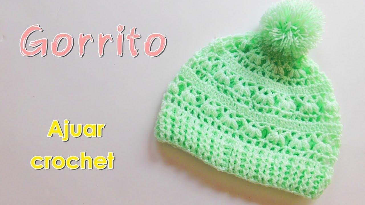 fa28cd63b Como tejer un ajuar  Gorro para bebe a crochet -ganchillo - YouTube