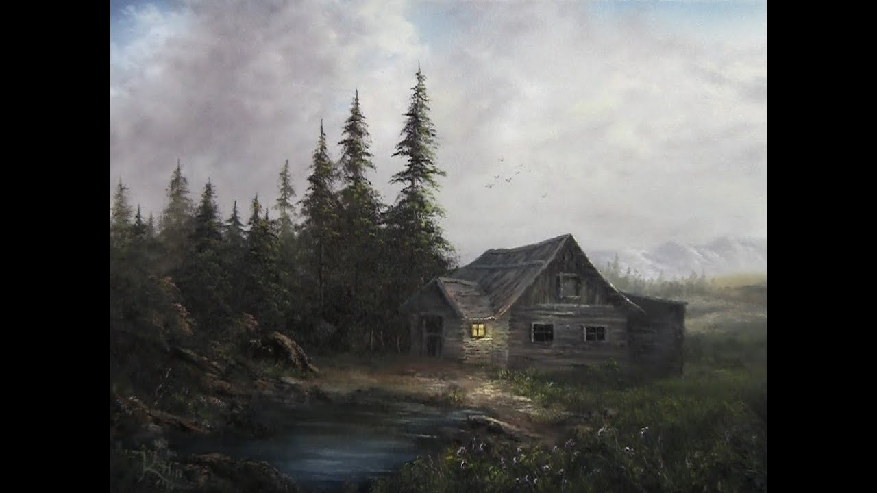 Log cabin in the woods painting - Log Cabin In The Woods Painting 18