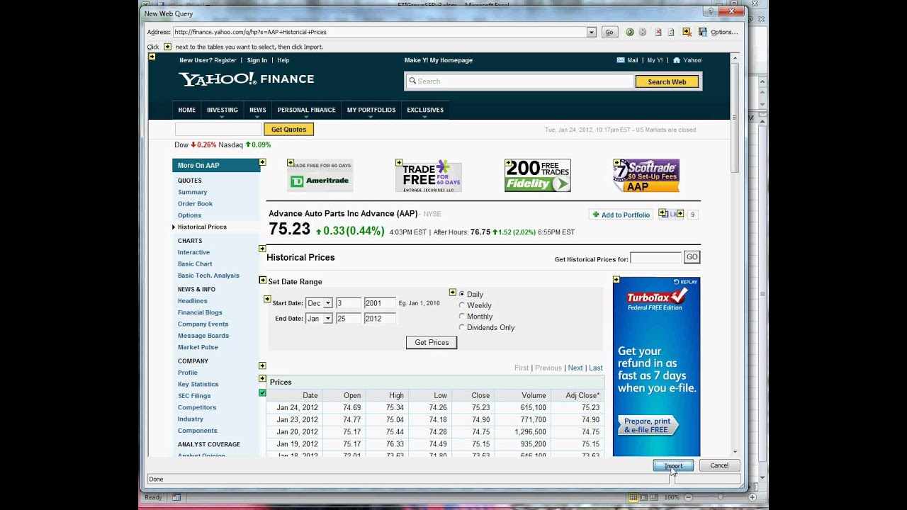 Yahoo Stock Quote Link Yahoo Finance Stock Data To Excel Worksheet  Youtube