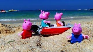 Отдых семьи Свинок. Отпуск и опасности в море. Папа Свин спасает Джорджа. Спасательный катер
