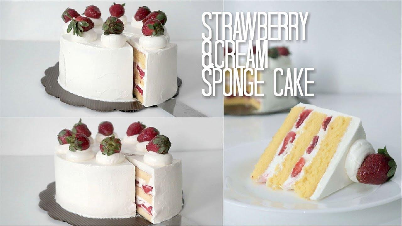 Sponge Cake 2 Versi Emulsifier Vs Baking Powder Strawberry And Cream Sponge Cake Versus