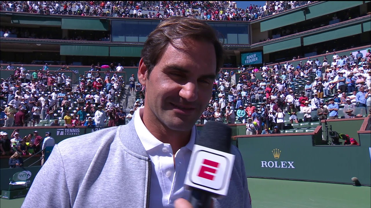 d18073f6 Roger Federer Talks to Fans About Rafa's Withdraw & The Finals at the 2019  BNP Paribas Open