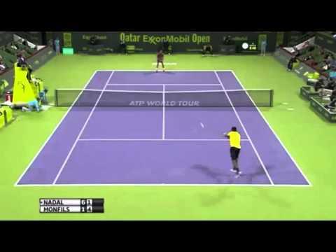 Rafael Nadal vs Gael Monfils ATP Doha 2014 masters 250 -Qatar open-amazing shots -FINAL