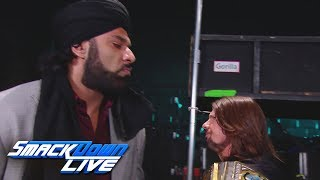 jinder mahal vows to come after wwe champion aj styles smackdown live nov 14 2017