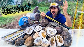 Geode Hunting & Revealing its Inner Beauty Geode Cracking!