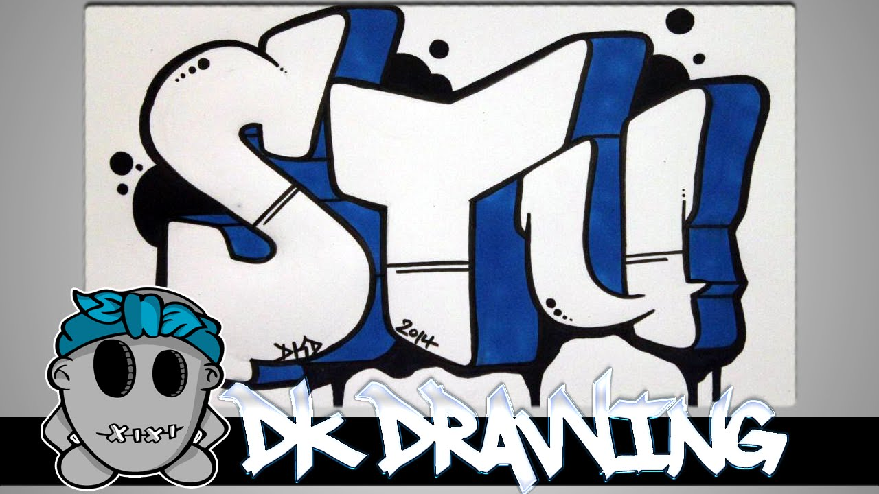 How to draw graffiti - Graffiti Letters STU step by step