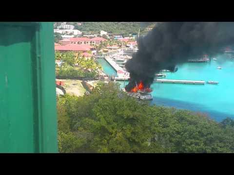 """Yacht """"Positive Energy"""" burning. St Thomas USVI"""