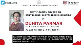 9th august 2020 | Certification Course Training for Job Mela | Mrs. Duhita Parmar